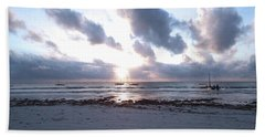 Coloured Sky - Sun Rays And Wooden Dhows Bath Towel