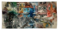 Colourful Burano Hand Towel by Jack Torcello
