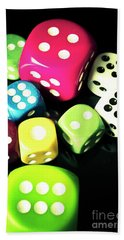 Colourful Casino Dice  Hand Towel