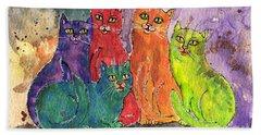 Colourful Cats Bath Towel