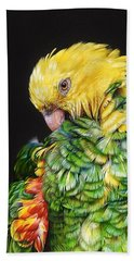Hand Towel featuring the drawing Colours Of The Jungle - Yellow-headed Amazon by Elena Kolotusha