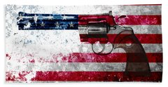 Colt Python 357 Mag On American Flag Bath Towel