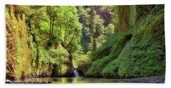 Columbia Gorge Waterfall In Summer Bath Towel