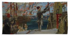 Columbus In The New World Hand Towel by Edwin Austin Abbey