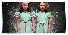 Bath Towel featuring the digital art Come Play With Us - The Shining Twins by Taylan Apukovska