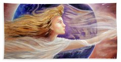 Bath Towel featuring the painting Comet Dreamer Voyage  by Michael Rock