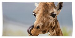 Comical Giraffe With His Tongue Out.  Bath Towel