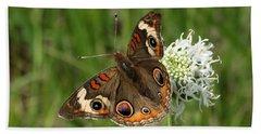 Common Buckeye Butterfly On Wildflower Bath Towel