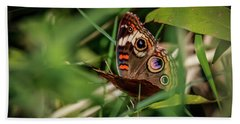 Bath Towel featuring the photograph  Common Buckeye by Ray Congrove