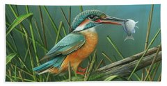 Common Kingfisher Hand Towel by Mike Brown