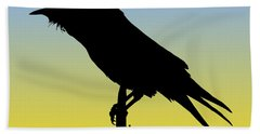 Common Raven Silhouette At Sunrise Hand Towel