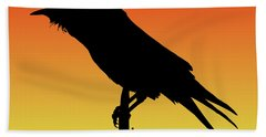 Common Raven Silhouette At Sunset Hand Towel