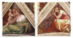 Bath Towel featuring the photograph Comparative Sistine Chapel Michaelangelo by Suzanne Powers
