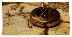 Compass On Vintage Old Map Of The World Hand Towel