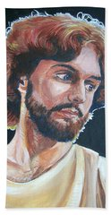 Bath Towel featuring the painting Compassionate Christ by Bryan Bustard