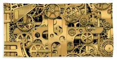 Complexity And Complications - Clockwork Gold Bath Towel by Serge Averbukh