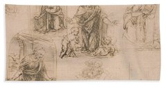 Compositional Sketches For The Virgin Adoring The Christ Child Hand Towel