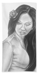 Long Hair Asian Lady With Rose In Sorrow Charcoal Drawing  Bath Towel