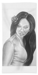 Long Hair Asian Lady With Rose In Sorrow Charcoal Drawing  Hand Towel