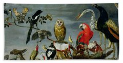 Concert Of Birds Hand Towel by Frans Snijders