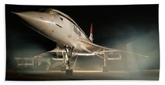 Concorde In The Mist Hand Towel by Tim Beach