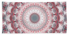 Concrete And Red Mandala- Abstract Art By Linda Woods Bath Towel