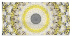 Concrete And Yellow Mandala- Abstract Art By Linda Woods Bath Towel