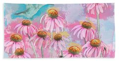 Coneflower Hummingbird Watercolor Bath Towel