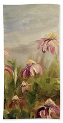 Bath Towel featuring the painting Coneflowers by Donna Tuten