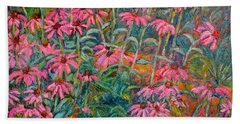 Bath Towel featuring the painting Coneflowers by Kendall Kessler