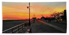 Coney Island Boardwalk Sunset Bath Towel