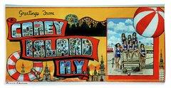 Coney Island Post Card Bath Towel