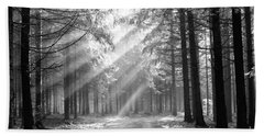 Conifer Forest In Fog Hand Towel by Michal Boubin