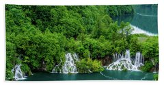 Connected By Waterfalls - Plitvice Lakes National Park, Croatia Hand Towel