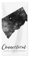 Connecticut State Map Art - Grunge Silhouette Bath Towel