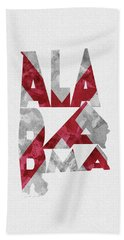 Hand Towel featuring the painting Alabama Typographic Map Flag by Inspirowl Design