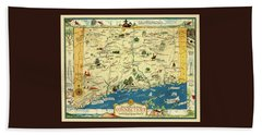 Connecticut 1930s Map With Historical Information Hand Towel