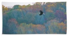 Hand Towel featuring the photograph Conowingo Colors With Bald Eagle by Jeff at JSJ Photography