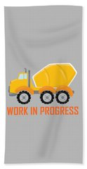 Construction Zone - Concrete Truck Work In Progress Gifts - Grey Background Bath Towel