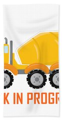 Construction Zone - Concrete Truck Work In Progress Gifts - White Background Hand Towel