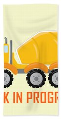 Construction Zone - Concrete Truck Work In Progress Gifts - Yellow Background Bath Towel