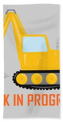 Construction Zone - Excavator Work In Progress Gifts - Grey Background Bath Towel