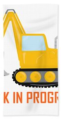 Construction Zone - Excavator Work In Progress Gifts - White Background Hand Towel