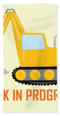 Construction Zone - Excavator Work In Progress Gifts - Yellow Background Bath Towel