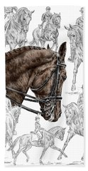 Contemplating Collection - Dressage Horse Print Color Tinted Hand Towel