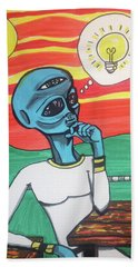 Hand Towel featuring the painting Contemplative Alien by Similar Alien