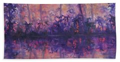 Contemporary Nature Painting Tropical Lake Sunset Hand Towel