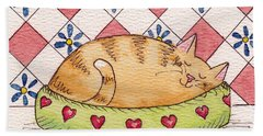 Bath Towel featuring the painting Contented Kitty by Terry Taylor