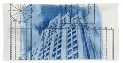 Continental Life Building Cyanotype Blueprint Architecture Hand Towel