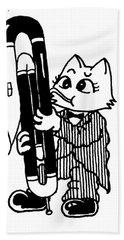 Contra Bassoon Cat Hand Towel